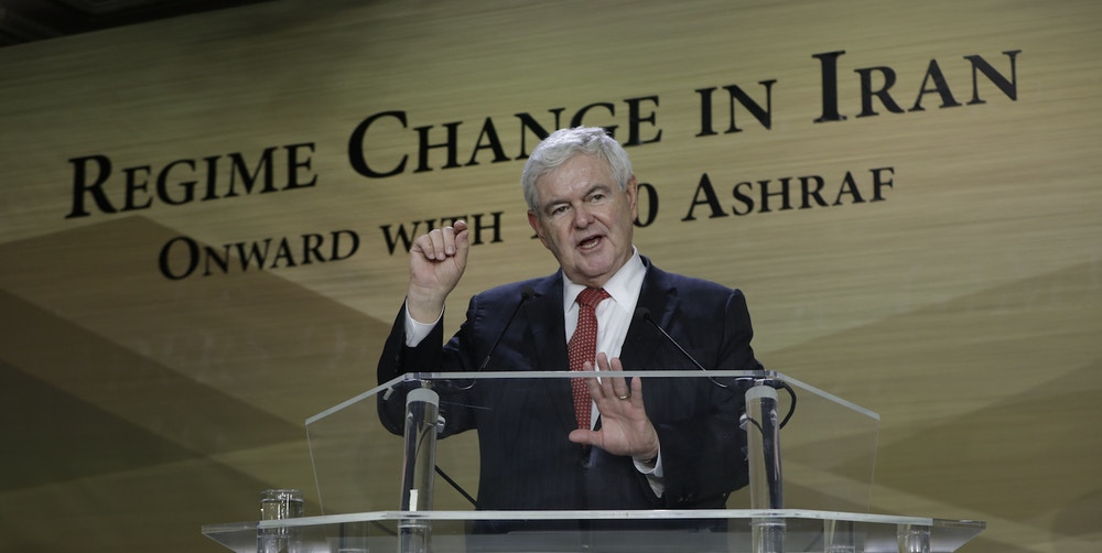 Newt Gingrich, Auvers sur Oise, France 19/01/2018 - Maryam Rajavi and Newt Gingrich in a conference on January 19, 2018 in the office of NCRI, Auvers sur Oise, north of Paris speaks to support the uprising of the Iranian people for regime change. Newt Gingrich, Former Speaker of the United States House of Representatives said this is the opportunity that Iranian diaspora and people inside Iran have to get rid of this dictatorship. Rom/TME/SIPA (Sipa via AP Images)