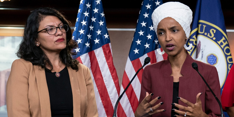 Reps. Rashida Tlaib and Ilhan Omar at a news conference in Washington on July 15, 2019. Photo: Scott Applewhite/AP