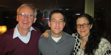 Ewen MacAskill, Glenn Greenwald and Laura Poitras in Hong Kong on June 10, 2013. (Photo by Laura Poitras)