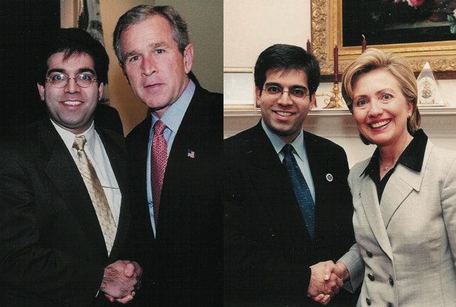 Ghafoor with President George W. Bush and Hillary Clinton (photos courtesy Asim Ghafoor)