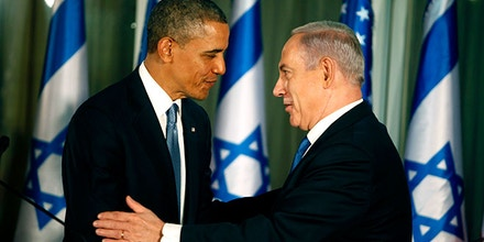 U.S. President Barack Obama (L) greets Israeli Prime Minister Benjamin Netanyahu during a press conference on March 20, 2013 in Jerusalem, Israel. Photo credit:  Lior Mizrahi/Getty Images