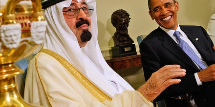 Barack Obama and Saudi Arabia's King Abdullah in 2010. Photo credit: Ron Edmonds/AP