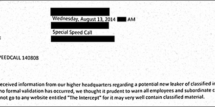 A portion of an email (redacted and slightly altered to protect the source) sent to staff last week at a U.S. Marine Corps installation directing employees not to read this web site.