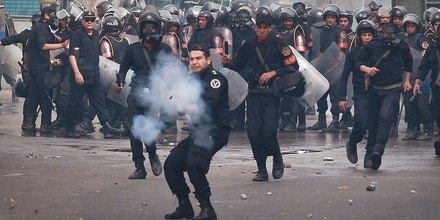 on January 28, 2011 in Cairo, Egypt.Thousands of police are on the streets of the capital. Hundreds of arrests have been made in an attempt to quell demonstrations.