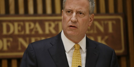 New York City Mayor Bill de Blasio speaks during a news conference Wednesday, June 4, 2014, in New York.  The New York Police Department has identified a suspect in a knife attack that left a 6-year-old boy dead and a 7-year-old girl critically injured in a public housing building that didn't have security cameras.  (AP Photo/Frank Franklin II)