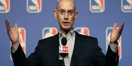 NBA Commissioner Adam Silver speaks at a news conference during the NBA board of governors meeting Tuesday, July 15, 2014, in Las Vegas. (AP Photo/John Locher)