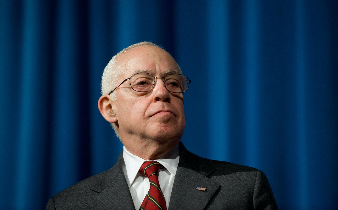 US Attorney General Michael Mukasey listens to a speaker during the graduation ceremony for Federal Bureau of Investigation Special Agents at the FBI Academy in Quantico, Virginia, on October 30, 2008. AFP PHOTO / Saul LOEB (Photo credit should read SAUL LOEB/AFP/Getty Images)