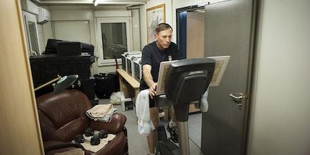 General David Petraeus works out