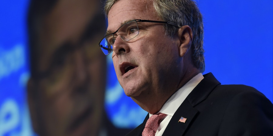 Former Florida Gov. Jeb Bush gives the keynote address at the National Summit on Education Reform in Washington, Thursday, Nov. 20, 2014. (AP Photo/Susan Walsh)