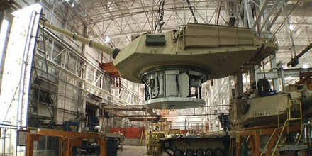 FILE - This undated file photo provided by the General Dynamics Land System shows the production of an Abrams tank in Lima, Ohio. A new defense spending plan will keep the nation's only tank manufacturing plant operating through the next two years, ending months of worry about the future of the factory where about 800 workers refurbish the Abrams tanks. (AP Photo/General Dynamics Land System, File)