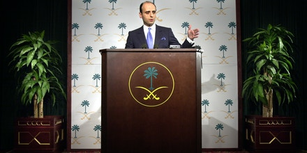 WASHINGTON - MAY16:  Adel Al-Jubeir, foreign policy adviser to Crown Prince Abdullah bin Abdulaziz, gestures as he speaks to the media at the Royal Embassy of Saudi Arabia May 16, 2003 in Washington, DC. Al-Jubeir answered criticism that the Saudi Arabian government received following the terrorist attacks that took place in Riyadh earlier this week. Al-Jubeir also discussed anti-terrorism measures his government has taken, as well as economic and education reforms the country is currently implementing.  (Photo by Stefan Zaklin/Getty Images)