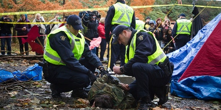 Image #: 33290266    A protester is detained by Royal Canadian Mounted Police (RCMP) officers during a demonstration against the proposed Kinder Morgan pipeline protest on Burnaby Mountain in Burnaby, British Columbia November 20, 2014. Environmental protesters have been blocking work at two Kinder Morgan Energy Partners LP sites in the Vancouver suburb of Burnaby, three days after a court injunction for their removal came into effect. Kinder Morgan, which hopes to triple the size of its 300,000-barrel-per-day Trans Mountain pipeline, plans to bore two holes deep into Burnaby Mountain to test if it will be possible to run the expanded pipeline under the conservation site, which is a popular hiking and picnic area for locals.  REUTERS/Ben Nelms    (CANADA - Tags: POLITICS CIVIL UNREST ENERGY)       REUTERS /BEN NELMS /LANDOV