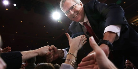 NATIONAL HARBOR, MD - FEBRUARY 27:  Former Florida governor Jeb Bush shakes hands with attendees after speaking at the 42nd annual Conservative Political Action Conference (CPAC) February 27, 2015 in National Harbor, Maryland. Conservative activists attended the annual political conference to discuss their agenda.  (Photo by Alex Wong/Getty Images)