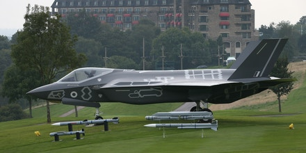NEWPORT, WALES - SEPTEMBER 04: An F-35 Lighting II fighter jet sits on the golf course surrounding the Celtic Manor Hotel during the NATO Summit on September 4, 2014 in Newport, Wales. Leaders and senior ministers from around 60 countries are meeting at what has been billed as the most important Nato summit since the end of the cold war with the situation in Ukraine and the threat of ISIS likely to be top of the agenda.  (Photo by Peter Macdiarmid/Getty Images)