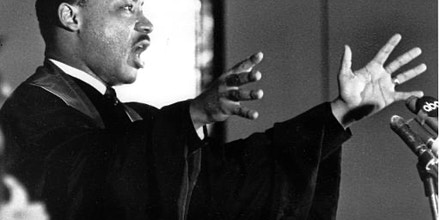 The Rev. Dr. Martin Luther King Jr. gestures and shouts to his congregation in Ebenezer Baptist Church in Atlanta, Ga. on April 30, 1967 as he urges America to repent and abandon what he called its