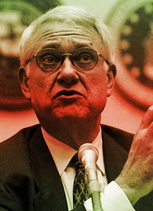 WASHINGTON - AUGUST 11:  John Hamre, former deputy Secretary of Defense, makes a point as he testifies during a hearing before the House Armed Services Committee  August 11, 2004 on Capitol Hill in Washington, DC. The hearing was held to discuss the 9-11 Commission?s proposed intelligence reforms on the Department of Defense.  (Photo by Alex Wong/Getty Images)