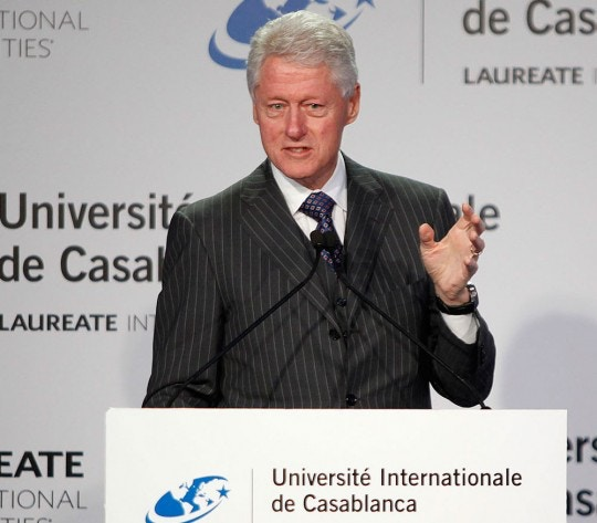 Image #: 21352807    Former U.S. President Bill Clinton speaks during a news conference at the international university in Casablanca February 24, 2013. REUTERS/Stringer  (MOROCCO - Tags: POLITICS)       REUTERS /STRINGER /LANDOV