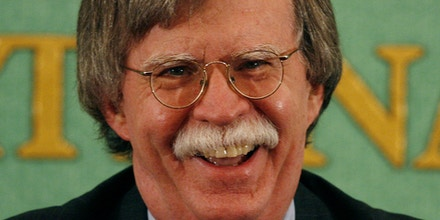 John Bolton, former U.S. Ambassador to the United Nations, takes a question from the media at the Japan press club in Tokyo Wednesday, Jan. 17, 2007. Bolton, who left the U.N. in December, said that the six-party talks on North Korea's nuclear weapons program have failed and the world should push the impoverished regime toward collapse. (AP Photo/David Guttenfelder)