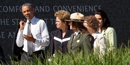 WASHINGTON, DC - JUNE 29:  (AFP OUT) U.S. President Barack Obama (2-L) and President of Brazil Dilma Rousseff (2-R) visit the Martin Luther King Jr. Memorial, with National Park Service National Mall Superintendent Karen Laura Cucurullo (Front R), June 29, 2015 in Washington DC. Rousseff visits Washington DC for the first time since she became president in 2011.  (Photo by Michael Reynolds - Pool/Getty Images)