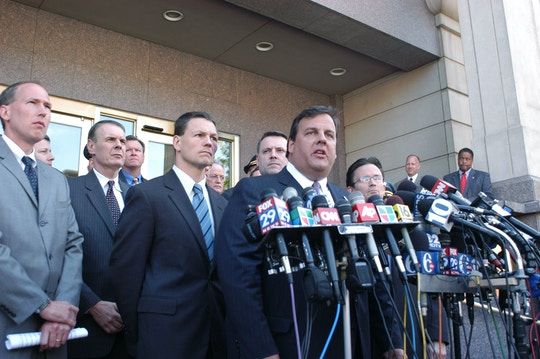 CAMDEN, NJ- MAY 8:  U.S. Attorney Christopher Christie speaks with the media outside Camden Federal Courthouse  May 8, 2007 in Camden, New Jersey. According to reports six men were arrested on charges of planning to attack the Fort Dix military base with automatic weapons.  (Photo by William Thomas Cain/Getty Images)