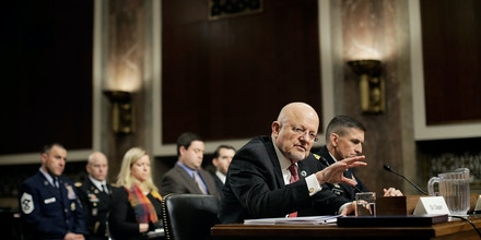 WASHINGTON, DC - FEBRUARY 11:  Director of National Intelligence James Clapper Jr. testifies before the Senate Armed Services Committee on February 11, 2014 in Washington, DC. Clapper offered assessments of the current state of national security and potential risks for the future.  (Photo by T.J. Kirkpatrick/Getty Images)