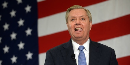 NASHUA, NH - APRIL 18: U.S. Sen. Lindsay Graham (R-SC) speaks at the First in the Nation Republican Leadership Summit April 18, 2015 in Nashua, New Hampshire. The Summit  brought together local and national Republicans and was attended by all the Republicans candidates as well as those eyeing a run for the nomination. (Photo by Darren McCollester/Getty Images) *** Local Caption *** Lindsay Graham