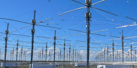 Antennas for the newly completed High Frequency Active Auroral Research Program (HAARP) is seen near Gakona, Alaska on Wednesday, June 27, 2007. The world's most advanced high-energy radio physics experiment was declared fully operational in a Wednesday afternoon ribbon-cutting ceremony. (AP Photo/Mark Farmer)