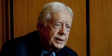 Former US President Jimmy Carter speaks with the Associated Press following a press conference which outlined the initial assessments of the Carter Center's election observation mission in Cairo, Egypt on Saturday, May 26, 2012. The Carter Center, which former President Carter founded, monitors elections world wide and deployed 102 observers to Egypt to monitor the Presidential elections that took place on the 23rd and 24th of May. While he expressed satisfaction with the overall order and peacefulness of the elections, he also cited concerns over restrictions placed on the delegation by the Egyptian authorities. (AP Photo/Pete Muller)