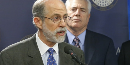 Frank J. Gaffney, Jr., President & CEO of the Center for Security Policy in Washington, D.C., speaks at a news conference in Oklahoma City, Friday, April 12, 2013. Oklahoma state Rep. Mike Reynolds, R-Oklahoma City, is at rear. (AP Photo/Sue Ogrocki)