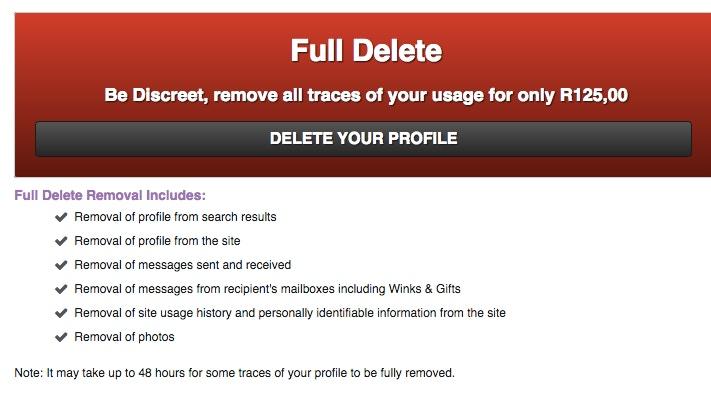 Ashley madison delete account