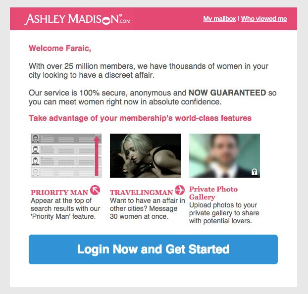some dude created an ashley madison account linked to my gmail and