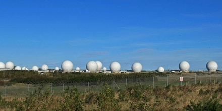 HARROGATE, UNITED KINGDOM - OCTOBER 30:  The radar domes of RAF Menwith Hill in north Yorkshire dominate the skyline on 30 October, 2007, Harrogate, England. The base is reported to be the biggest spy base in the world. Britain recently agreed to a United States request for the RAF Menwith Hill monitoring station, also known as the 13th field station of the US national security agency, in North Yorkshire to be used as part of its missile defence system. Dubbed 'Star Wars Bases' by anti-war and CND campaigners. The facility houses British and United States personnel.  (Photo by Christopher Furlong/Getty Images)
