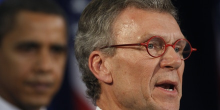 CHICAGO - DECEMBER 11: Former Senate Majority Leader Tom Daschle (R) speaks during a press conference after being introduced by President-Elect Barack Obama as his Health and Human Services Secretary-designate  during a press conference at the Hilton hotel December 11, 2008 in Chicago, Illinois. Daschle was also named as director of the White House office of health reform. Obama spoke about the future of the nation's health care system(Photo by Joshua Lott/Getty Images)