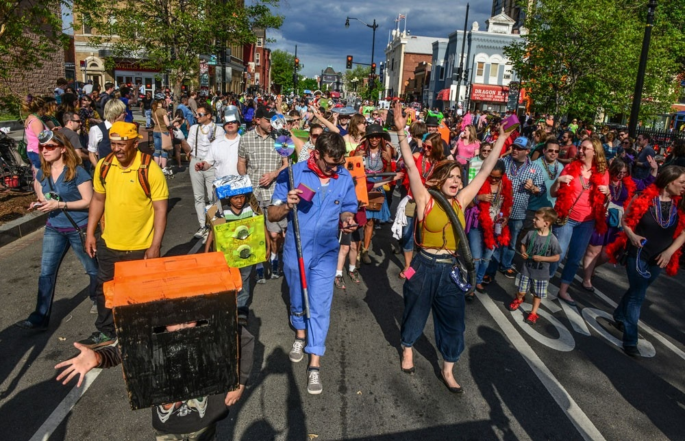 WASHINGTON, DC - MAY 2:Participants, some dressed as robots, march down T street during the annual DC Funk Parade, on May, 02, 2015 in Washington, DC.(Photo by Bill O'Leary/The Washington Post via Getty Images)