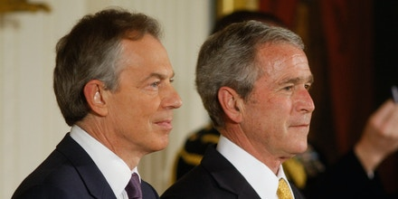 President George W. Bush and former British Prime Minister Tony Blair take part in the Presidential Medal of Freedom ceremony, Tuesday, Jan. 13, 2009, in the East Room of the White House in Washington.  (AP Photo/Ron Edmonds)