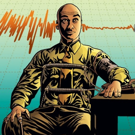 man getting a polygraph test illustration by Jon Proctor for The Intercept