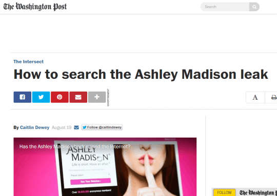 "When the leak was first announced last month, the Post published a similar  article headlined ""Was your spouse on Ashley Madison? A new breed of  private eye ..."