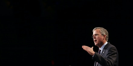 ORLANDO, FL - JUNE 02:  Former Florida Governor Jeb Bush and possible Republican presidential candidate speaks during the Rick Scott's Economic Growth Summit held at the Disney's Yacht and Beach Club Convention Center on June 2, 2015 in Orlando, Florida. Many of the leading Republican presidential candidates are scheduled to speak during the event.  (Photo by Joe Raedle/Getty Images)