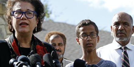 IRVING, TX - SEPTEMBER 16: Attorney Linda Moreno speaks to the media with her client Ahmed Ahmed Mohamed and his family during a news conference on September 16, 2015 in Irving, Texas. Mohammed, 14, was detained after a high school teacher falsely concluded that a homemade clock he brought to class might be a bomb. The news converence, held outside the Mohammed family home, was hosted by the North Texas Chapter of the Council on American-Islamic Relations. (Photo by Ben Torres/Getty Images)
