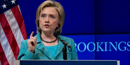 Democratic presidential candidate Hillary Rodham Clinton speaks at the Brookings Institution in Washington, Wednesday, Sept. 9, 2015, about the Iran nuclear agreement and other topics. Clinton is making the case for the international agreement to curb Iran's nuclear ambitions as Congress opens debate on the accord.   (AP Photo/Carolyn Kaster)