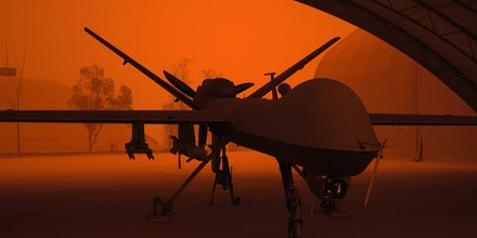 An MQ-9 Reaper sits in a hanger during a sandstorm at Joint Base Balad, Iraq, Sept. 15.