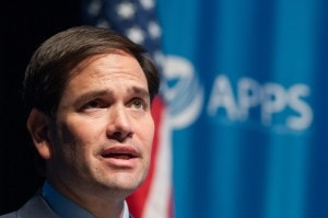 CEDAR RAPIDS, IA - OCTOBER 02: Republican presidential candidate U.S. Sen. Marco Rubio (R-FL) speaks during a Americans for Peace, Prosperity, and Security national security forum event at the Cedar Rapids Public Library on October 2, 2015 in Cedar Rapids, Iowa. Rubio answered questions from moderator Jeanne Meserve about national security issues ranging from Russia and ISIS to cyber security and China. (Photo by David Greedy/Getty Images)