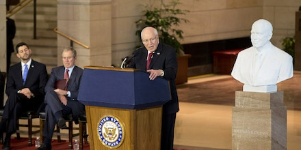 House Speaker Paul Ryan of Wis., former President George W. Bush, and others, listen as former Vice President Dick Cheney speaks in Emancipation Hall on Capitol Hill in Washington, Thursday, Dec. 3, 2015, during a ceremony where a marble bust of Cheney was unveiled. (AP Photo/Manuel Balce Ceneta)