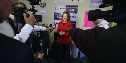 CARY, NC - NOVEMBER 03:  Incumbent U.S. Sen. Kay Hagan (D-NC) speaks to members of the media during a visit at her campaign office November 3, 2014 in Cary, North Carolina. Senator Hagan is facing challenge from Republican candidate and Speaker of the North Carolina House of Representatives Thom Tillis for her seat in the U.S. Senate.  (Photo by Alex Wong/Getty Images)