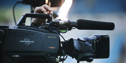 A picture shows a TV camera of the production company AmpVisualTV, a provider for French TV Sport channel BeIN Sport, that belongs to Qatari media group Al-Jazeera, during the French L1 football match between Nantes and Bordeaux on March 29, 2014 at the Beaujoire stadium in Nantes, western France. AFP PHOTO / JEAN-SEBASTIEN EVRARD        (Photo credit should read JEAN-SEBASTIEN EVRARD/AFP/Getty Images)