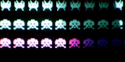 LONDON - OCTOBER 20: A classic video game 'Space Invaders' is displayed at the Science Museum on October 20, 2006 in London. The Game On exhibition at the museum displays 120 classic and modern computer games.  (Photo by Peter Macdiarmid/Getty Images)