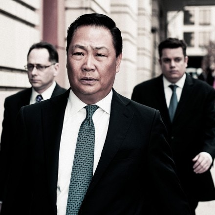 Stephen Kim, a former State Department expert on North Korea, leaves federal court in Washington, Wednesday, April 2, 2014, after a federal judge sentenced him to 13 months in prison for passing classified information to a journalist.  (AP Photo/Cliff Owen)