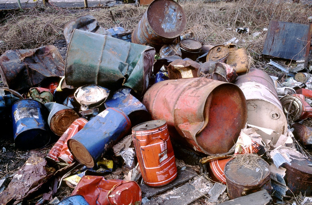 Dumped chemical drums, West Midlands. Hazardous waste. (Photo by: Photofusion/UIG via Getty Images)