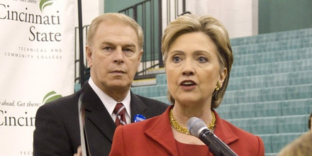 NBC NEWS -- Hillary Clinton Campaign -- Pictured: (l-r) Ohio Governor Ted Strickland and Senator Hillary Clinton (D-NY) campaign for the Democratic nomination in Cincinatti, Ohio on February 23, 2008 -- Photo by: Christina Jamison/NBC NewsWire