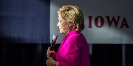 CLINTON, IOWA - JANUARY 23: Democratic presidential candidate Hillary Clinton speaks at a campaign organizing event at Eagle Heights Elementary on January 23, 2016 in Clinton, Iowa. The Democratic and Republican Iowa Caucuses, the first step in nominating a presidential candidate from each party, will take place on February 1. (Photo by Brendan Hoffman/Getty Images)